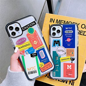 creativity letter label transparent graffiti phone case for iphone 11 11pro xs max 8 7 plus se2020 case anti-fall soft silicone cover