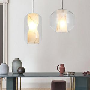 Postmodern glass pendant lamp Hand-painted imitation marble glass lights restaurant kitchen dining room hanging suspension light