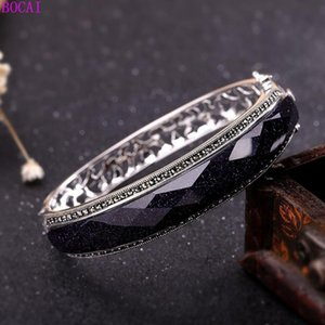 s925 pure silver women's bracelet national style Thai silver ornaments female blue sand Bracelet 2020 new fashion jewelry