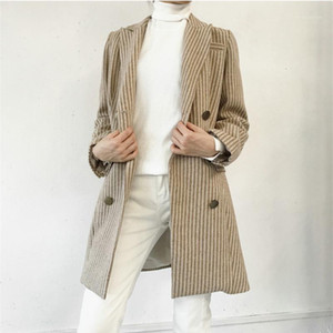 2019 New Spring Autumn Women Trench Coat Fashion Double Breasted High quality Long Stripe Casual Windbreaker Female Outerwear1