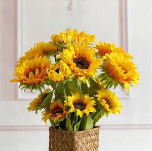 Artificial 3Heads Sunflower Fake Flower Simulation Flower Plant Bonsai Wedding Decoration INS Wind Home Decoration Flores