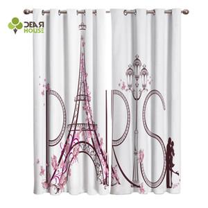 Curtains France Paris Eiffel Tower Window Curtain Living Room Bedroom Home Decoration Panel Window Treatment LJ201224