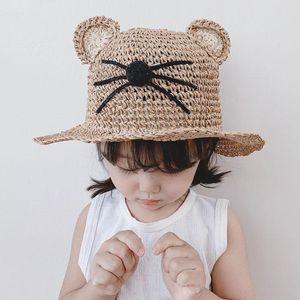 Summer Children's Cat Ears Empty Top Straw Hat Korean Casual Shade Visor Cap Sunscreen Beach Sun Bucket Hat