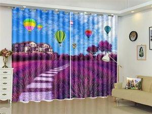 Romantic Lavender Beautiful Village Hot Air Balloon 3D Landscape Curtain Interior Decoration High-grade Fine Curtains