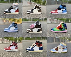 Yeni Otantik Travis Scott 1 Yüksek OG Karanlık Mocha Korkusuz Üniversite Mavi Birliği Chicago Balvin Siyah Toe Spor J Erkekler Açık Ayakkabı Sneakers