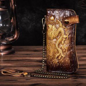 Cattle Male Genuine leather Dargon Tiger Emboss Fashion Checkbook Iron Organizer Wallet Purse Design Clutch Handbag 1088