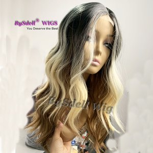 newest article imitate injected Silk top lace front wig synthetic deep wave lace front wigs for white women