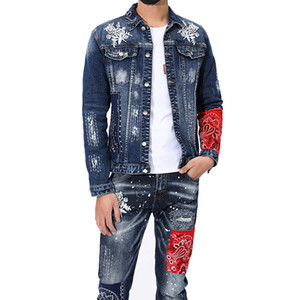 New Men's Two Piece Sets Spring Autumn Mens Ripped Hole Stitching Embroidery Denim Jacket + Stretch Jeans 2pcs Set Personality Streetwear