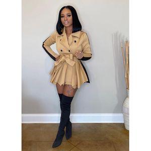 Femmes Robe Designer 2020 Slim Manteau Contraste Couleur Jupe Jupe Jupe Hiver Sleeve À Manches longues Dames Nouvelle mode Casual Plus Taille Vêtements de taille