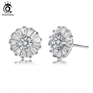 ORSA Newest Trendy Solid 925 Silver Earrings With Cubic Zirconia Round Shape Real Sterling Silver Earrings for Women SE27