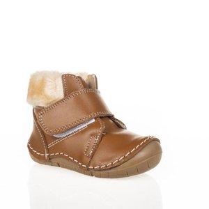 MyWondry Gerçek Deri Kürklü Kahverengi Kız Erkek Bebek İlk Adım Çizmeler W1217