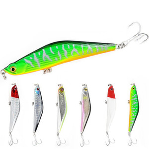 30pcs Pencil Sinking Fishing Lure 16g Trolling Lure Hard Baits 3D Eyes With Treble Hook Fishing Tackle mix color