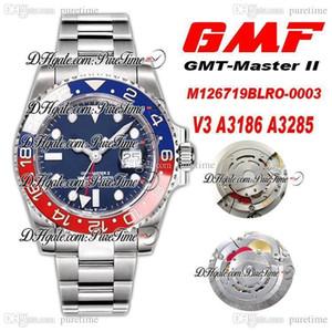 GMF V3 GMT II A3186 A3285 Automatique Chronographe Homme Montre Pepsi Céramique Bezel Bleu Cadran 904L Bracelet en acier Meilleure édition PTRX PureTime C3