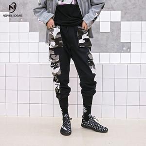 Novela ideas hombre gran bolsillo empalmado camuflaje cargamento pantalones masculinos militares tatales pantalones casual hip hop