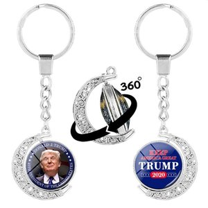 Donald Trump 2020 Keychain 306 Degree Rotate Keep America Great USA President Commemorate Coin Creative Print Keyring Party Favor DBC BH4146