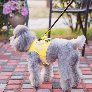 Cute Pet Backpack Harness Travel Outdoor Hiking Little Bee Shape Saddlebag with Leash for Small Dogs