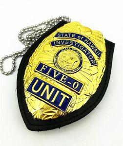 US Five-0 Hawaii 5 o & Chain Belt Leather Holder Gift Replica Movie Prop Pin Badge Halloween Cosplay 0927