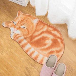New High quality handmade cat shape washable carpet short hair cat mat cartoon art rug Kitchen Floor Mats Welcome Doormat