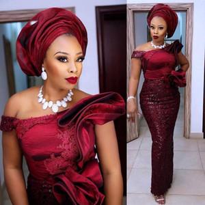 Nigerian Prom Dresses Sequin Elegant Full Sleeve Burgundy Evening Party Gowns Ruffle Applique Aso Ebi Evening Dress Peplum