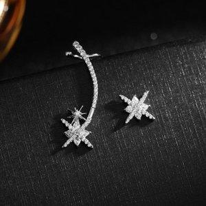 Marca Europeia Luxo Micro-embutido Zircon deixa Star Dragonfly S925 Prata Agulha Brincos Jóias Moda Mulheres 18K Brincos Banhados A Ouro