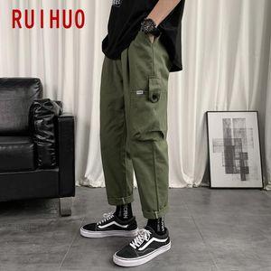 RUIHUO Solid Mens Pants Cargo Pants Men Clothing Mens Trousers Jogger Harajuku Sweatpants 2020 New M-3XL