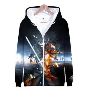 Streetwear Art Online Sao Hoodies 스웨터 여성 지퍼 까마귀 팬 하라주쿠 소드 남성 애니메이션 3D 자켓 의류 Sudadera Bieeg