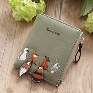 뜨거운 판매 새로운 여성 지갑 사랑스러운 만화 동물 지갑 여성 짧은 가죽 여성 지갑 지퍼 지갑 Portefeuille 여성 지갑 클러치