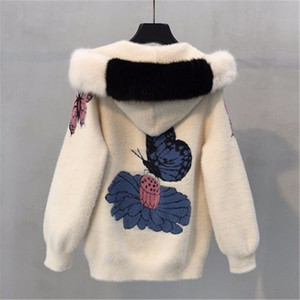 2020 Female mink fur jacket autumn and winter women's coat loose embroidered thick velvet hooded sweater women's cardigan LJ201204