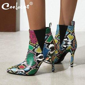 الأحذية coolcept النساء الكاحل الأزياء أشار تو رقيقة أحذية عالية الكعب الشتاء امرأة مثير الدافئة مكتب سيدة حزب الأحذية حجم 31-43