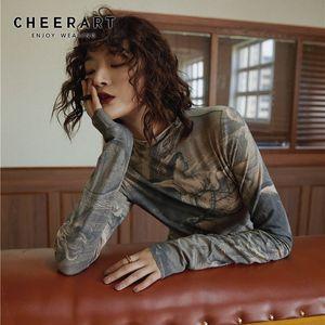 CHEERART Renaissance Print Vintage Top Turtleneck Langarm-Bluse Frauen Spandex Bodycon Bluse Damen Tops Kleidung 201013