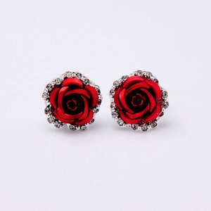 Women fresh flower earrings fashion rose diamond rose women earrings ear clip stud fashion jewelry will and sandy gift