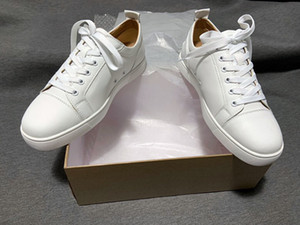 Top Mens Vermelho Bottoms Shoes por atacado barato Couro real 50% OFF CASA Confortável Casual Moda Mulheres Branco Pares Ace Luxo Sneakers Grande Tamanho 47