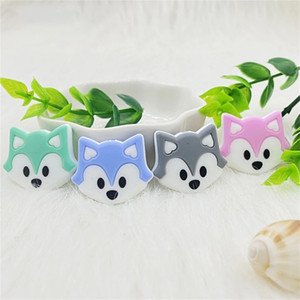 Fox Animal Baby Teether Beads Mini Fox Pacifier Clips Chain Beads Pearl Silicone Teething Toys Food Grade Silicon Teether