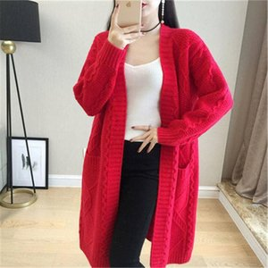 Women Long Cardigans For Autumn Winter Warm Oversize Long Cardigans Poncho Korean Knit Jacket Sueter Mujer Solid 2021 Coat PZ262