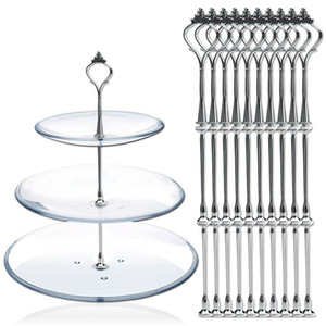 10 Set of 3 Tier Three Layers Cake Plate Stand Holder Crown Metal Rod Fitting Hardware Rod Plate Holder Silver