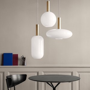 Luce del pendente di vetro bianco latte Nordic rotonda ovale cilindro lampada a sospensione Dinning Room Hotel Restaurant Lounge Studio Ufficio Camera