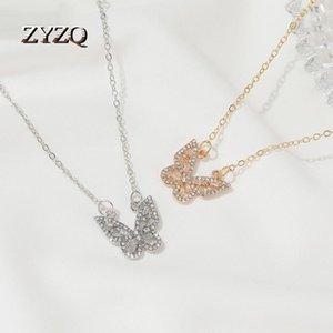 체인 ZYZQ 작은 신선한 나비 펜던트 화이트 큐빅 지르콘 목걸이 여성용 보석 선물