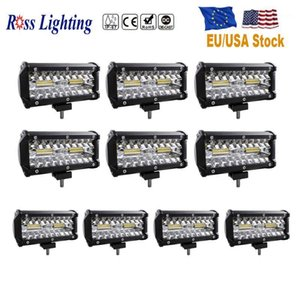 10pcs Triple Row Offroad Light Bar 7inch Spot Flood Combo 120W LED Bar for Truck Tractor Boat 4x4 Driving Light SUV 12V 24V1