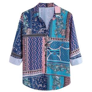 Men's Fashion Long Sleeve Nice print Shirt Casual Vacation High-street Shirt Top Beach Blouse Shirts Daily Top New