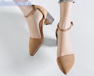 Dousin Partin Femmes Platform Pumps Flock élégante place Talon haut Deux Piece Mode Femmes Chaussures Femmes Pompes bout pointu LJ200928