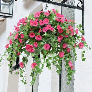 Artificial Flowers Morning Glory Vine Fake Flower Hanging Wall Basket Wedding Home Decoration