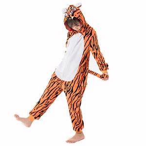 Unicorn Onesies для детей Pajamas зимнее животное комбинезон детские фланелевые косплеи тигр фланелевые сна для 4 6 8 10 12y 201104