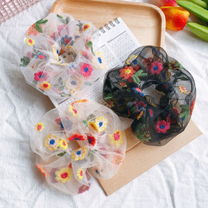 2020 Embroidery Flower Elastic Hair Rope Transparent Net Yarn Scrunchie Ponytail Holder Hair Bands Accessories for Women Girls