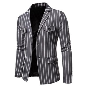 Neue Wohnung Kragen ME's Blazer Casual Single Breasted Mode Striped Herren Blazer Jacke Herbst Multiple Taschen Blazer Männer