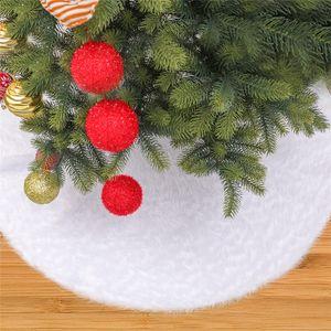 Christmas Plush Tree Dress Plush 122 cm White Christmas Tree Skirt Faux Fur Carpet for New Year Home Decorations FF358