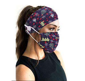 Christmas Mask Headband Printing Women's Fashion Hair Band Headband Button Mask Yoga Sports Headband Mask Turban IIA