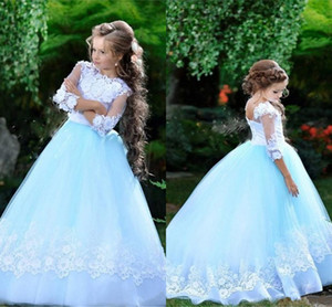 Lovely Sky Blue White Lace Formal Party Dresses For Wedding Guest High Jewel Corsst Back Flower Girl Dress With Sleeves Pageant Graduation
