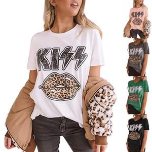 Donne Estate Tshirt Designer Kiss Lips Stampa Lettera T Shirt T-shirt manica corta Tees Crew Neck Leopard Shirt Womens Blusa Camicetta Conciso Camicette