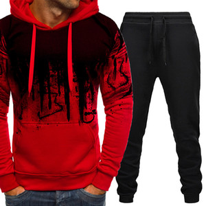 Casual Tracksuit Men Clothing Two Pieces Sets Hoodies And Long Pants Male Suit Sweatshirt Outfit Sportswear Autumn Hooded 201204