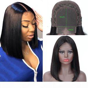 4x4 Bob Spitze Frontal Perücken Brasilianisches Reines Haar Gerade Spitze Frontal Human Hair Perücken Schweizer Spitze Frontal Perücke Prepucked